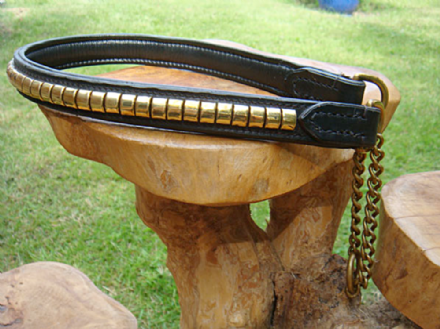 Hand-Made English Bridle Leather Clincher Half-Check Dog Collar